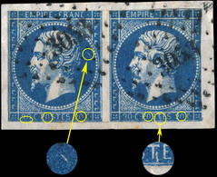 France - Paire Yv.14A 20c Bleu T.1 - Variétés Non Planchées - Obl. PC 3053 (St-Étienne) Défauts -sur Fragment (ref.&02e) - 1853-1860 Napoleon III
