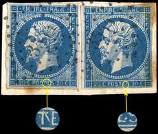 France - 2x Yv.14A 20c Bleu T.1 - Variétés Non Planchées - Obl. PC 3053 (St-Étienne) Défauts -sur Fragment (ref.&02f) - 1853-1860 Napoleon III