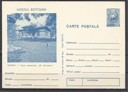 """Romania, St.Card, Ipotesti, The House Of """"M. Eminescu"""", 1975. - Enteros Postales"""