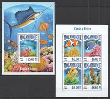 ST2498 2013 MOZAMBIQUE MOCAMBIQUE FAUNA FISH & MARINE LIFE CORAL REEFS KB+BL MNH - Vita Acquatica