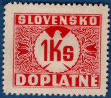 Slovakia 1939 Postage Due 1 Ks No Watermark 1 Value MH 2106.1238 - Nuovi