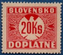 Slovakia 1939 Postage Due 20 Ks No Watermark 1 Value MH 2106.1241 - Nuovi