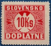 Slovakia 1939 Postage Due 10 Ks No Watermark 1 Value MH 2106.1240 - Nuovi