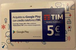 REF. 89 -  TIM - 5 EURO - GOOGLE PLAY - VALIDITA . DIC 2019 - [2] Sim Cards, Prepaid & Refills