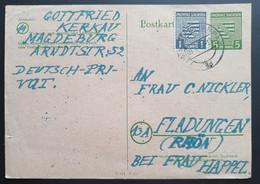 Sachsen 1946, Postkarte MiF MAGDEBURG - Sovjetzone