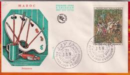 FDC-Editions JF # Maroc-Marokko-Morocco-1970-(N° Yvert 597) Peinture Marocaine (Gemälde,painting) Fantasia ,Casablanca - Marruecos (1956-...)