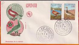FDC-Editions JF # Maroc-Marokko-Morocco-1970-(N° Yvert 606-07) Faune -Oiseaux,Vögel,birds,oie,Gans,Goose,Outarde,Trappe - Marruecos (1956-...)