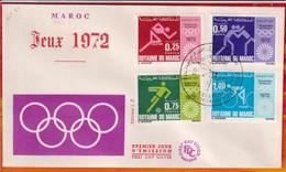 FDC-Editions JF # Maroc-Marokko-Morocco-1972-(N° Yvert 642-45) Sport -Jeux Olympiques ,Summer Olympic Games Munich 1972 - Marruecos (1956-...)