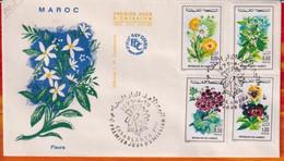 FDC -Editions JF # Maroc-Marokko-Morocco-1975-(N° Yvert 717-20) Flore Marocaine - Fleurs,Blumen,flowers  1.10.75 - Marruecos (1956-...)