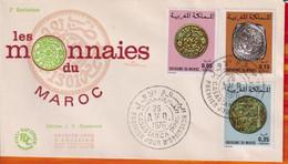 FDC -Editions  JF # Maroc-Marokko-Morocco-1976-(N° Yvert 756-58 ) Monnaies Anciennes  Marocaines - Münzen - Coins - Marruecos (1956-...)