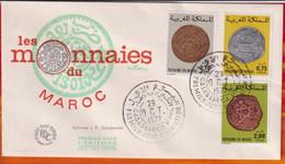 FDC -Editions  JF # Maroc-Marokko-Morocco-1977-(N° Yvert 797-99 ) Monnaies Anciennes  Marocaines - Münzen - Coins - Marruecos (1956-...)