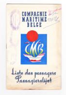 COMPAGNIE MARITIME BELGE - Liste Des Passagers De Matadi Le 18 Novembre 1958 - Congo Belge , Bateau (b285) - Andere