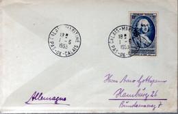 LETTRE 1953 - CACHET POSTAL DEPART CALAIS MARITIME - - Covers & Documents
