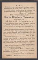 Maria Vermeiren Zondereigen 1818 1911 Doodsprentje Mortuaire - Religion & Esotericism