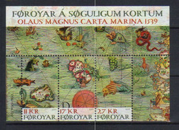 Faroe Islands  2019 Historic Maps, Carta Marina, Thule, Faroe, Sea Monsters  Mi  Bloc 50 MNH(**) - Faroe Islands