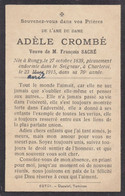 Adèle Crombé Rongy  1839 Charleroi 1915 Doodsprentje Mortuaire - Religion & Esotericism