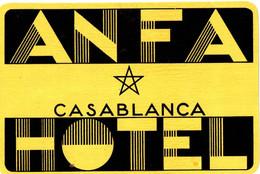 HOTEL ANFA . CASABLANCA - Etiquettes D'hotels