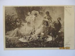 Erotik, Nackte Frauen, Sommerabend, Künstlerkarte Hans Zatzka (3002) - 1900-1949