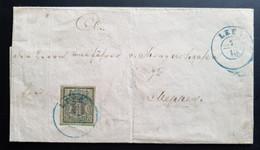 Hannover 1857, Brief Mi 9 LEER 7/10 Nach MEPPEN 8.. OCT. Blauer Kastenstempel - Hanover
