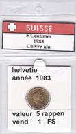 BB ) Pièces Suisse De 5 Rappen  1983    Voir Descriptions - Schweiz