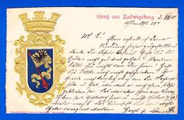 E-Allemagne-492P112  Carte Gaufrée, écusson, Gruss Aus LUDWIGSBURG, Cpa Précurseur 1901 - Ludwigsburg