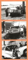 LOT DE 3 PHOTOS ORIGINALES 1979 TOURY EURE & LOIRE - ACCIDENT DE VOITURE RENAULT 16 - R16 R 16  - CRASH CAR - Cars
