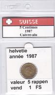 BB ) Pièces Suisse De 5 Rappen  1987    Voir Descriptions - Schweiz