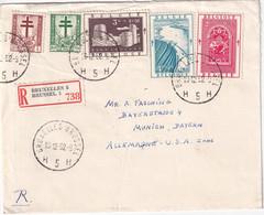 BELGIQUE 1952 LETTRE RECOMMANDEE DE BRUXELLES AVEC CACHET ARRIVEE MÜNCHEN - Lettres & Documents