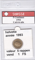 BB ) Pièces Suisse De 5 Rappen  1993    Voir Descriptions - Schweiz