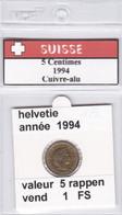 BB ) Pièces Suisse De 5 Rappen  1994    Voir Descriptions - Schweiz