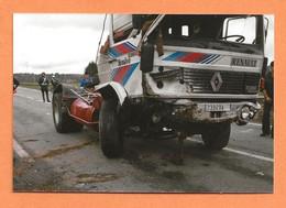 PHOTO ORIGINALE 1987 BESSINES GARTEMPE - ACCIDENT DE CAMION TRACTEUR RENAULT TURBO G 290  - MOTARD - CRASH TRUCK - Cars