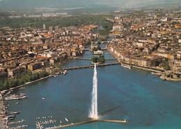 Genève, Vue Aérienne Du Jet D'Eau Et Des Ponts Sur Le Rhône - GE Ginevra