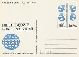 Poland Postcard Cp. 1024: World Peace Bird Pigeon - Enteros Postales