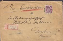 Poland Vorläufer Deutsches Reich Registered Einschreiben Label BROMBERG (Bydgoszcz) Pommern 1903 Cover Brief DRESDEN - Covers & Documents
