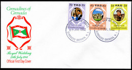 Grenada Grenadines 1982 Royal Wedding Official With $4 Different Backgound First Day Cover. - Grenada (1974-...)