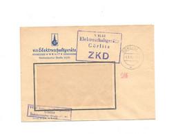 Violetter ZKD Kastenstempel Auf Firmenumschlag VEB Elektroschaltgeräte Görlitz 1964 - Dienstpost