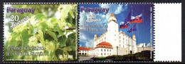 Paraguay 3111 Slovaquia, Slovensko, Tilleul Fleur Arbre, Drapeaux, Europe - Ohne Zuordnung