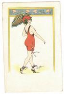 ILLUSTRATEUR SIGNE RENE GILLES : L'OMBRELLE VERS LE BAIN - FEMME FRAU LADY VROUW CHAMPIGNON TALON AIGUILLE - Other Illustrators