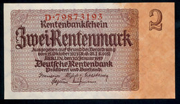 P174b Ro167b DEU-223b 2 Rentenmark 1937 UNC NEUF! - 2 Rentenmark