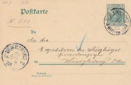 Bayerischer Bahnpoststempel WERTHEIM - LOHR Auf Reichspost-Ganzsache 26.8.1903  Kleine Strecke Aus Unterfanken - Covers & Documents
