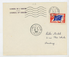 """FRANCE -  SERVICE - N° Yvert 20 SUR ENVELOP. Obli CàD DU """"19/11/1962 DU CONSEIL DE L'EUROPE - STRASBOURG"""" - Lettres & Documents"""