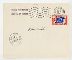 """FRANCE -  SERVICE - N° Yvert 20 SUR ENVELOP. Obli CàD DU """"19/9/1962 DU CONSEIL DE L'EUROPE - STRASBOURG"""" - Lettres & Documents"""