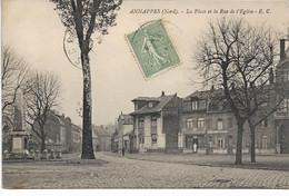 CPA NORD  ANNAPPES La Place Et La Rue De L'Eglise - Villeneuve D'Ascq