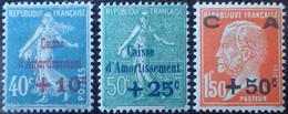 2939 - 1927 - TYPE SEMEUSE Et PASTEUR - CAISSE D'AMORTISSEMENT - SERIE COMPLETE - N°246 à 248 NEUFS* - Sinking Fund