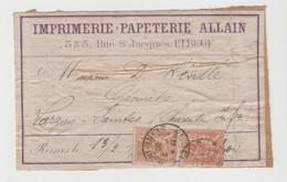 SEINE Me: ALLAIN, Imprimerie-Papeterie R. St Jacques à ELBEUF / Etiquette D'Imprimerie De  1902 Pour Varzay - 1877-1920: Periodo Semi Moderno