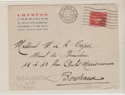 """PARIS: LHYSTON, Chemisier R. De Chaligny, / Yv 225, """" C Maigre """" / LSC De 1927 Pour Bordeaux - 1921-1960: Periodo Moderno"""