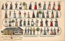 Gruss Vom Schweizerland. Costumes Suisses Schweizertrachten  Carte Gaufrée. Superbe état 1907 - Ohne Zuordnung