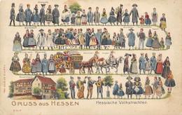 """GRUSS Aus HESSEN """" Hessische Volkstrachten"""" Superbe Animation. Carte Gaufrée. 2 Scans - Ohne Zuordnung"""