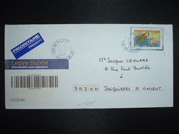 LETTRE SUIVIE PRIORITAIRE TP VOYAGE AU CENTRE DE LA TERRE JULES VERNE OBL.18-4 2006 974 ST PIERRE CC T1 REUNION - 1961-....