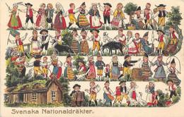 "SUEDE. Costumes Traditionnels ""Svenska Nationaldräkter"" Superbe Animation. Carte Gaufrée, Vierge, En Très Bon état. - Schweden"